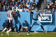 Ryan Tannehill #17 of the Tennessee Titans passes the ball on the move during the first quarter against the Houston Texans at Nissan Stadium on December 15, 2019 in Nashville, Tennessee.