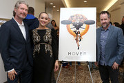 """(L-R) Travis Stevens, Cleopatra Coleman and Matt Osterman attend the """"Hover"""" Los Angeles premiere screening at Arena Cinelounge on June 29, 2018 in Hollywood, California."""