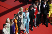 """Writer Neil Gaiman, actress Nicole Kidman, actress Elle Fanning, director John Cameron Mitchell actor Alex Sharp and  the cast of the movie attend the """"How To Talk To Girls At Parties"""" screening during the 70th annual Cannes Film Festival at  on May 21, 2017 in Cannes, France."""