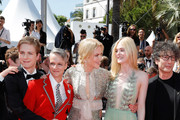 """(L-R) Actor AJ Lewis, director John Cameron Mitchell, actresses Nicole Kidman, Elle Fanning and Novel's Author Neil Gaiman attend the """"How To Talk To Girls At Parties"""" screening during the 70th annual Cannes Film Festival at  on May 21, 2017 in Cannes, France."""