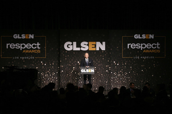 GLSEN Respect Awards – Los Angeles - Inside [text,font,performance,event,stage,brand,logo,night,darkness,glsen respect awards,los angeles,beverly hills,california,beverly wilshire four seasons hotel,howard schultz]