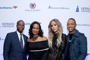 (L-R) President of Howard University Wayne A.I. Frederick, Simone Frederick, Jasmine Sanders, and Terrence J attend La La Anthony's Pre-Grammy Party Presented by Howard University on January 26, 2018 in New York City.