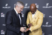 "In this handout image provided by Hublot Ricardo Guadalupe and Bernard Hopkins attend the Hublot x WBC ""Night of Champions"" Gala at the Encore Hotel on May 03, 2019 in Las Vegas, Nevada."