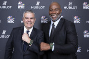 "In this handout image provided by Hublot, Ricardo Guadalupe poses with Lennox Lewis attend the Hublot x WBC ""Night of Champions"" Gala at the Encore Hotel on May 03, 2019 in Las Vegas, Nevada."