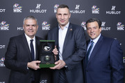 "In this handout image provided by Hublot Ricardo Guadalupe,Vitali Klitschko and Mauricio Sulaiman attend the Hublot x WBC ""Night of Champions"" Gala at the Encore Hotel on May 03, 2019 in Las Vegas, Nevada."