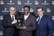 "In this handout image provided by Hublot Ricardo Guadalupe, Thomas Hearns and Mauricio Sulaiman attend the Hublot x WBC ""Night of Champions"" Gala at the Encore Hotel on May 03, 2019 in Las Vegas, Nevada."