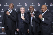 "In this handout image provided by Hublot, Lennox Lewis, Ricardo Guadalupe, Evander Holyfield and George Forman, attend the Hublot x WBC ""Night of Champions"" Gala at the Encore Hotel on May 03, 2019 in Las Vegas, Nevada."