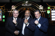 "In this handout image provided by Hublot, Ricardo Guadalupe, Mike Tyson and Mauricio Sulaiman attend the Hublot x WBC ""Night of Champions"" Gala at the Encore Hotel on May 03, 2019 in Las Vegas, Nevada."