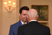 Australian actor Hugh Jackman is awarded an Order of Australia by The Governor-General of Australia David Hurley at Government House on September 13, 2019 in Melbourne, Australia. Hugh Jackman was honoured for his service to the performing arts for his work as an advocate for poverty eradication.