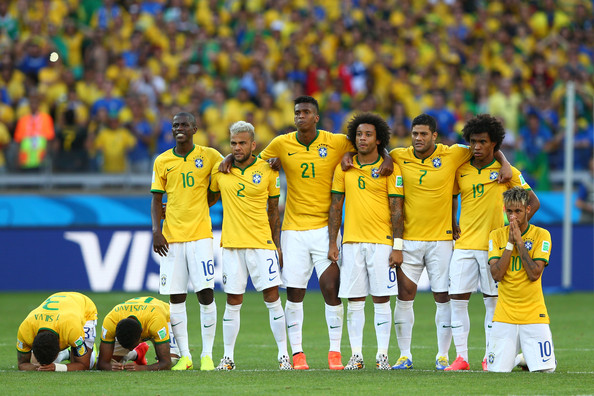 Brazil v Chile: Round of 16 - 2014 FIFA World Cup Brazil [player,sports,team,soccer player,sport venue,team sport,ball game,football player,football,sports equipment,brazil v chile: round of 16-2014 fifa world cup brazil,brazil,luiz gustavo,thiago silva,marcelo,penalty,l-r,willian and neymar of brazil look on during,belo horizonte,fifa world cup brazil round of 16 match between brazil and chile at estadio mineirao on june]