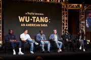 (L-R) Dave East, Alex Tse, Shameik Moore, Brian Grazer, RZA, and Francie Calfo speak onstage during the Hulu 2019 Summer TCA Press Tour at The Beverly Hilton Hotel on July 26, 2019 in Beverly Hills, California.