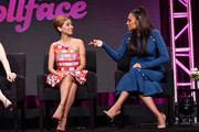 (L-R) Brenda Song and Shay Mitchell speak onstage during the Hulu 2019 Summer TCA Press Tour at The Beverly Hilton Hotel on July 26, 2019 in Beverly Hills, California.
