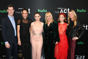 """(L-R) SVP Originals, Hulu Craig Erwich, Chloe Sevigny, Joey King, Patricia Arquette, AnnaSophia Robb and President, Universal Cable Productions Dawn Olmstead attend Hulu's """"The Act"""" New York Premiere at The Whitby Hotel on March 14, 2019 in New York City."""
