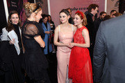 """Chloe Sevigny (L) is greeted by Joey King, and AnnaSophia Robb as they attend Hulu's """"The Act"""" New York Premiere at The Whitby Hotel on March 14, 2019 in New York City."""