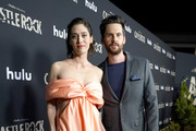 "Lizzy Caplan and Tom Riley attend Hulu ""Castle Rock"" Season 2 Premiere at AMC Sunset 5 on October 14, 2019 in West Hollywood, California."