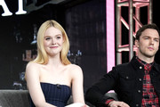(L-R) Elle Fanning and Nicholas Hoult speak onstage during the Hulu Panel at Winter TCA 2020 at The Langham Huntington, Pasadena on January 17, 2020 in Pasadena, California.