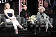 (L-R) Elle Fanning, Nicholas Hoult, and Marian Macgowan speak onstage during the Hulu Panel at Winter TCA 2020 at The Langham Huntington, Pasadena on January 17, 2020 in Pasadena, California.