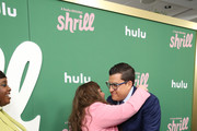 """Aidy Bryant greets Andrew SInger as they attend Hulu's """"Shrill"""" New York Premiere at Film Society of Lincoln Center - Walter Reade Theater on March 13, 2019 in New York City."""