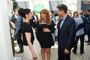 (L-R) Sarah Silverman, Julie Klausner, and Mike Hopkins attend the Hulu Upfront Brunch at La Sirena Ristorante on May 3, 2017 in New York City.