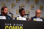 Ryan Hansen, Kirby Howell-Baptiste and Enrico Colantoni attend Hulu's 'Veronica Mars' revival panel and world premiere during 2019 Comic-Con International at San Diego Convention Center on July 19, 2019 in San Diego, California.