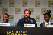 Percy Daggs III, Ryan Hansen and Kirby Howell-Baptiste attend Hulu's 'Veronica Mars' revival panel and world premiere during 2019 Comic-Con International at San Diego Convention Center on July 19, 2019 in San Diego, California.