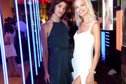 Daphne Groeneveld (R) and guest attend A. Human Launch Event hosted by Simon Huck on September 4, 2018 in New York City.