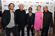 """(L-R) Prodcers Jason Sosnoff and Avi Lerner, actors Al pacino and Greta Gerwig and director Barry Levinson attend """"The Humbling"""" premiere during the 2014 Toronto International Film Festival at The Elgin on September 4, 2014 in Toronto, Canada."""