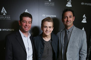 (L-R) CMO of The Recording Academy Evan Greene, recording artist Hunter Hayes and Sr. Group Manager, New Media, Hyundai Jon Budd attend Hyundai + The GRAMMY's Amplifier Center Stage Press Day at The Beverly Hilton Hotel on January 23, 2014 in Beverly Hills, California.