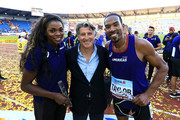 (L-R) Caterine Ibarguen, IAAF President Sebastian Coe and Christian Taylor pose for a photo following day two of the IAAF Continental Cup at Mestsky Stadium on September 9, 2018 in Ostrava, Czech Republic.