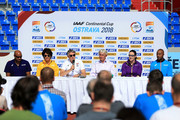 IAAF President, Sebastian Coe speaks to the media during a press conference prior to the IAAF Continental Cup at Mestsky Stadium on September 7, 2018 in Ostrava, Czech Republic.