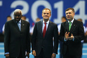 Donald Tusk (C), Prime Minister of Poland looks on with Lamine Diack (L), IAAF President and Jacek Karnowski (R), Mayor of Sopot during the Opening Ceremony on day one of the IAAF World Indoor Championships at Ergo Arena on March 7, 2014 in Sopot, Poland.