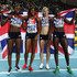 (L-R) Perri Shakes-Drayton, Shana Cox, Nicola Sanders and Christine Ohuruogu of Great Britain celebrate as they win gold in the Women?s 4x400 Metres Final during day three of the 14th IAAF World Indoor Championships at the Atakoy Athletics Arena on March 11, 2012 in Istanbul, Turkey.