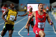 Ryan Bailey of the United States celebrates after winning the final of the menÂ's 4 x 100 metres on day one of the IAAF World Relays at Thomas Robinson Stadium on May 2, 2015 in Nassau, Bahamas.