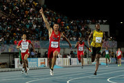 First place finisher Ryan Bailey of the United States, second place finisher Usain Bolt of Jamaica, and third place finisher Kotaro Taniguchi of Japan compete during the final of the menÂ's 4 x 100 metres on day one of the IAAF World Relays at Thomas Robinson Stadium on May 2, 2015 in Nassau, Bahamas.