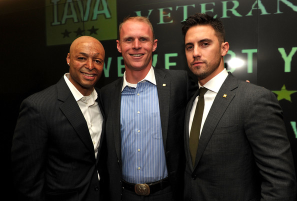(L-R) Actor JR Martinez, IAVA's Todd Bowers and actor Milo Ventimiglia attend IAVA's Second Annual Heroes Celebration held at CAA on April 29, 2010 in Los Angeles, California.
