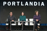 (L-R) Creators Fred Armisen, Carrie Brownstein and Jonathan Krisel speak onstage during the IFC presentation of Brockmire and Portlandia on January 14, 2017 in Pasadena, California.