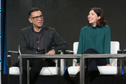 Creators Fred Armisen and Carrie Brownstein speak onstage during the IFC presentation of Brockmire and Portlandia on January 14, 2017 in Pasadena, California.