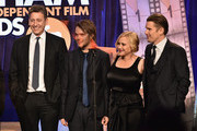 (L-R) John Sloss, Ellar Coltrane, Patricia Arquette and Ethan Hawke onstage during IFP's 24th Gotham Independent Film Awards at Cipriani, Wall Street on December 1, 2014 in New York City.