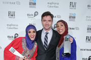 (L-R) Nadia P Manzoor, Topher Grace, and Radhika Vaz attends the 25th IFP Gotham Independent Film Awards co-sponsored by FIJI Water at Cipriani, Wall Street on November 30, 2015 in New York City.