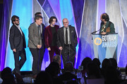 """Luca Guadagnino speaks onstage with the cast of """"Call Me By  Your Name"""" during IFP's 27th Annual Gotham Independent Film Awards on November 27, 2017 in New York City."""