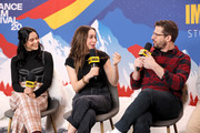 (L-R) Camila Mendes, Cristin Milioti, and Andy Samberg of 'Palm Springs' attend the IMDb Studio at Acura Festival Village on location at the 2020 Sundance Film Festival – Day 2 on January 25, 2020 in Park City, Utah.