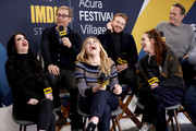 Jack Lowden, Florence Pugh, Stephen Merchant, Paige, Lena Headey, and Vince Vaughn of 'Fighting With My Family' and Kevin Smith attend The IMDb Studio at Acura Festival Village on location at The 2019 Sundance Film Festival - Day 4 on January 28, 2019 in Park City, Utah.