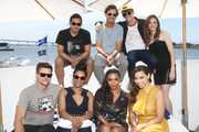 Hartley Sawyer,  Carlos Valdes, Candice Patton, Tom Cavanagh, Danielle Nicolet, Grant Gustin, Jessica Parker Kennedy and Danielle Panabaker attend the #IMDboat At San Diego Comic-Con 2018: Day Three at The IMDb Yacht on July 21, 2018 in San Diego, California.