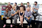 (L-R) Jessie T. Usher, Chase Crawford, Anthony Starr, Tomer Kapon, Erin Moriarty, Laz Alonso, Eric Kripke, Jack Quaid and Karl Urban speak onstage at the #IMDboat at San Diego Comic-Con 2019: Day Two at the IMDb Yacht on July 19, 2019 in San Diego, California.