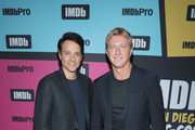Ralph Macchio and William Zabka attend the #IMDboat at San Diego Comic-Con 2019: Day Two at the IMDb Yacht on July 19, 2019 in San Diego, California.
