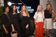 SVP Credit Card Products Management, Wells Fargo, Heather Philp, Founder & creative director of Brothher Veillies, Aurora James, IMG model, Founder, Tropic of C, Candice Swanepoel, SVP of North America Marketing at Visa, Mary Ann Reilly and Co- Founder and CEO of Jetblack, Jenny Fleiss pose during THE TALKS: FASHION IS CHANGING sponsored by VISA ? featuring real talk from female thought leaders in Fashion & Finance, together fostering a culture for change, Moderated by: Mary Ann Reilly (SVP, North America Marketing, Visa); along with Aurora James (Founder & Creative Director, Brother Vellies); Candice Swanepoel (IMG Model & Founder, Tropic of C), Jenny Fleiss (Co-founder & CEO, Jetblack), Heather Philp, SVP Credit Card Products Management, Wells Fargo at IMG NYFW: The Shows 2018  at Spring Studios on September 7, 2018 in New York City.