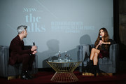 Tan France and Negin Mirsalehi speak onstage during The Talks: In Conversation with Tan France and Negin Mirsalehi Presented by Express at Spring Studios on September 05, 2019 in New York City.