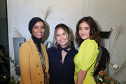 IMG Model and UNICEF Ambassador, Halima Aden and actors Erin Lim and Luna Blaise attend the 'Meet E!'s Front Five' panel. Presented by VISA during NYFW: The Shows at Spring Studios on September 06, 2019 in New York City.