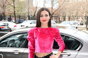 Victoria Justice arrives to NYFW: The Shows in a BMW 750i xDrive Sedan in New York City on February 06, 2020. For the second consecutive year, BMW is the lead automotive partner at New York's biggest fashion event.