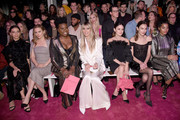 (L-R) Angela Sarafyan, Alicia Silverstone, Leslie Jones, Heidi Klum, Rachel Bilson, Alexa Chung, and Indya Moore sit front row at the Christian Siriano Fall Winter 2020 show during New York Fashion Week: The Shows at Spring Studios on February 06, 2020 in New York City.